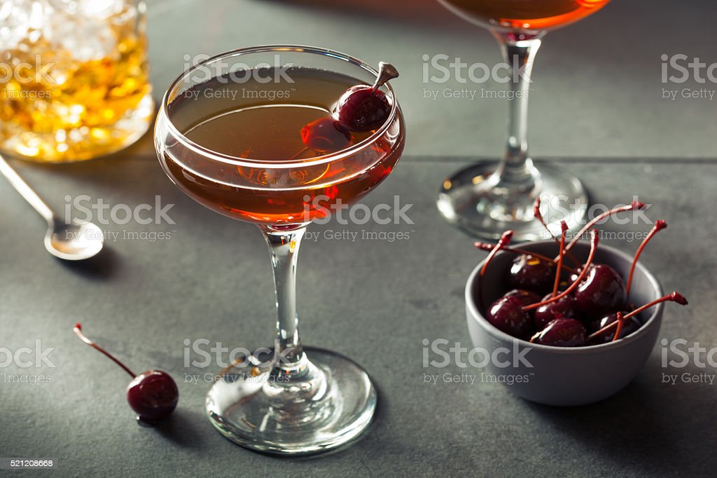 Homemade Rye Bourbon Manhattan stock photo