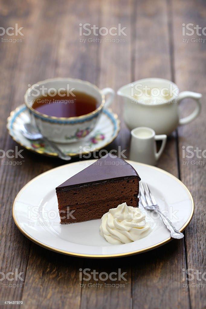 homemade sachertorte, Austrian chocolate cake stock photo