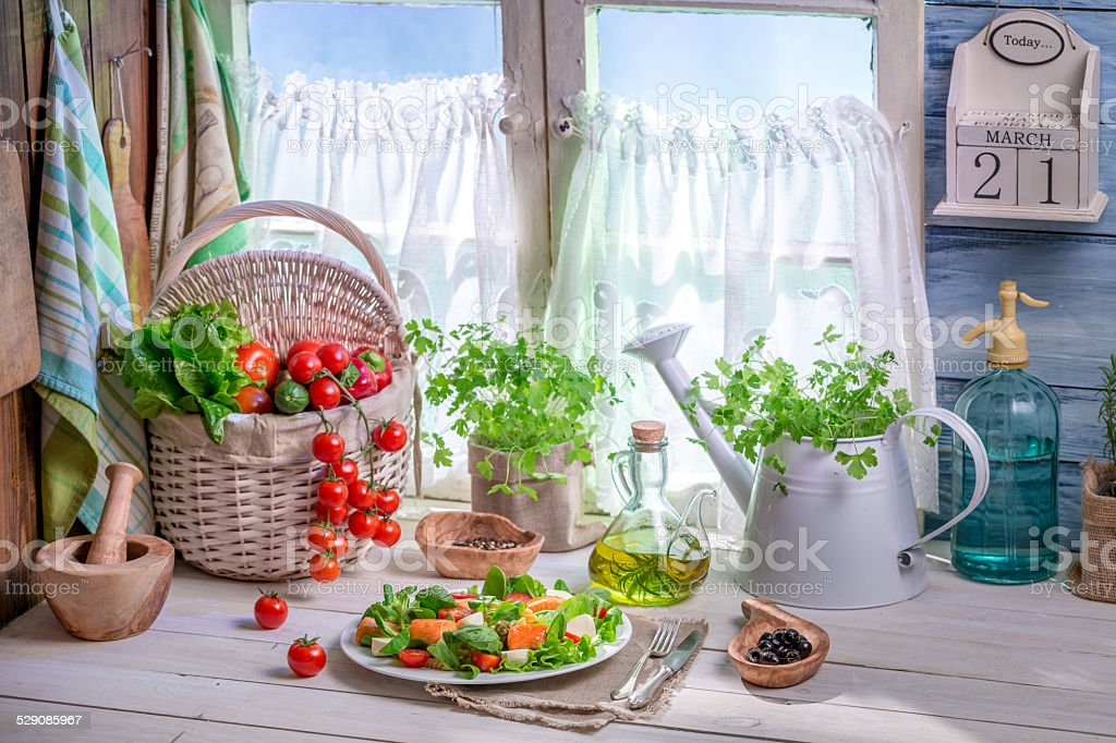Homemade salad with salmon and vegetables stock photo