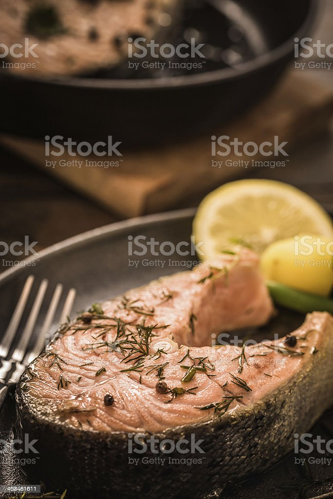Homemade Salmon Steak grilled in a Pan royalty-free stock photo