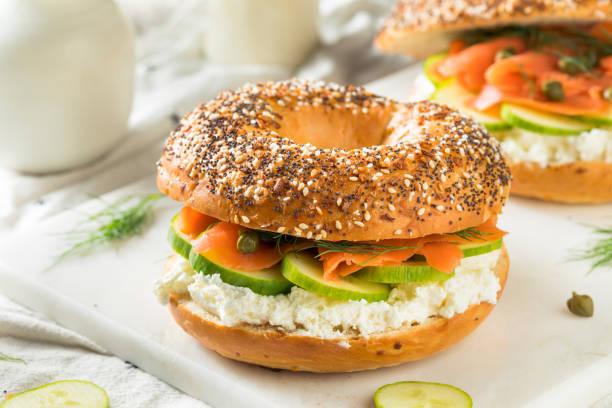 Homemade Salmond Lox Sandwich stock photo