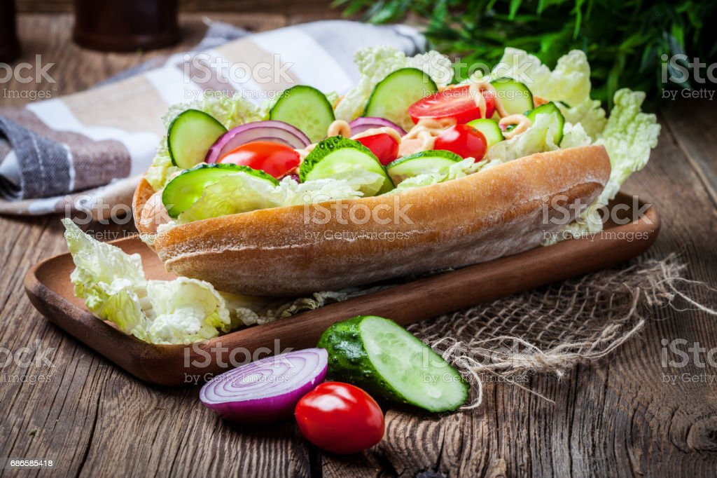 Homemade sandwich on a wooden table. royalty-free stock photo