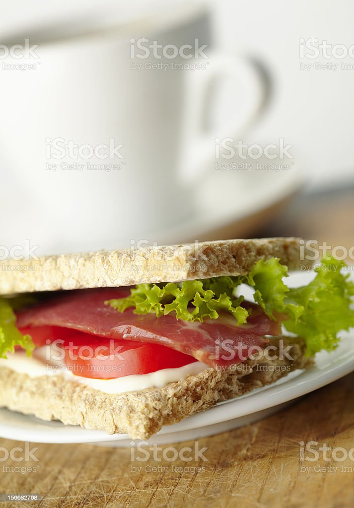 Homemade sandwich with bacon royalty-free stock photo