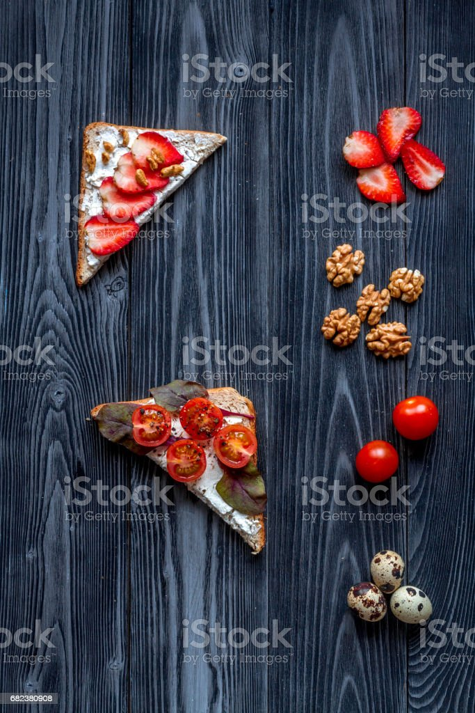 homemade sandwiches composition on white table background top view royalty-free stock photo