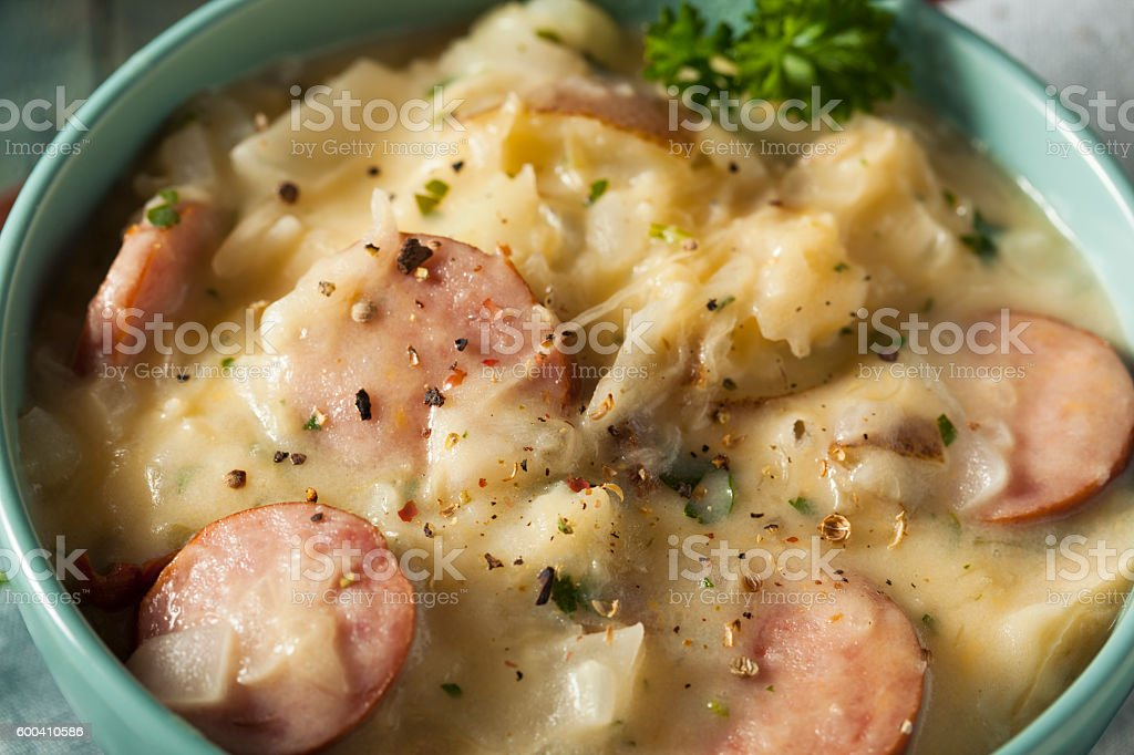 Homemade Sauerkraut and Sausage Soup stock photo
