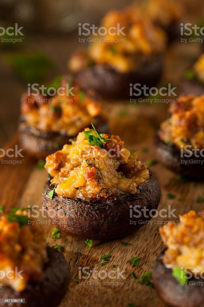 Homemade Sausage Stuffed Mushrooms stock photo