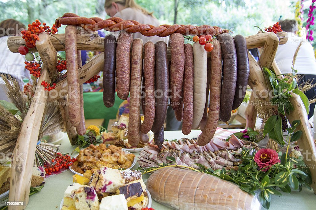 Homemade sausages and meat royalty-free stock photo