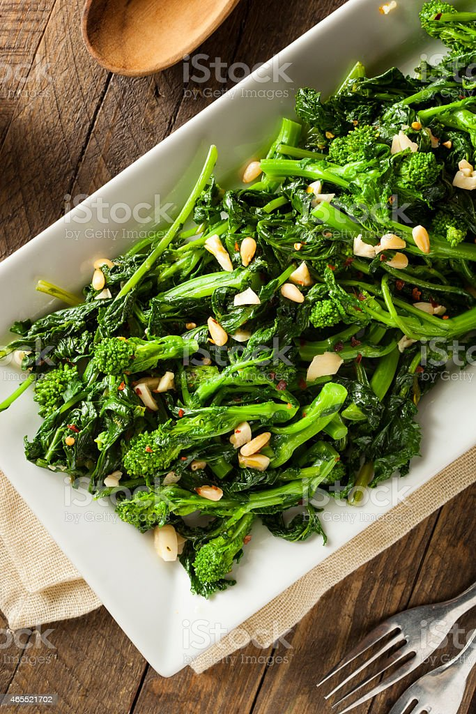 Homemade Sauteed Green Broccoli Rabe stock photo