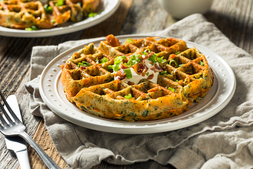 Homemade Savory Waffles with Bacon and Cheese