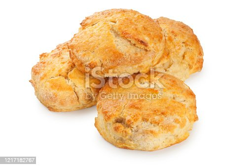 Studio shot of homemade scones cut out against a white background