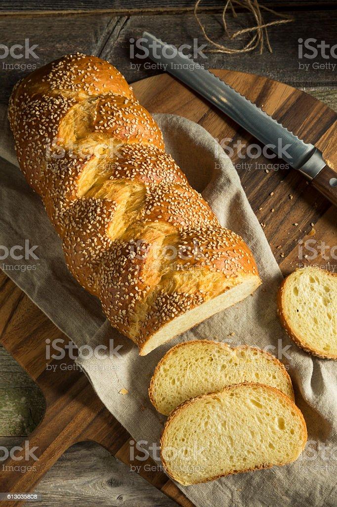Homemade Sesame Challah Bread stock photo