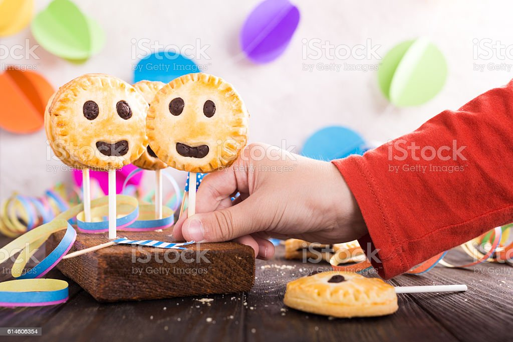 Homemade shortbread cookies on stick called pie pops stock photo