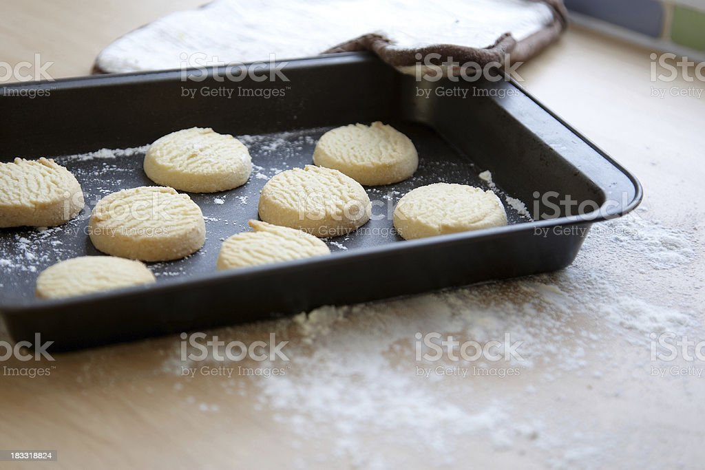 Homemade shortcrust biscuits on cooling tray royalty-free stock photo