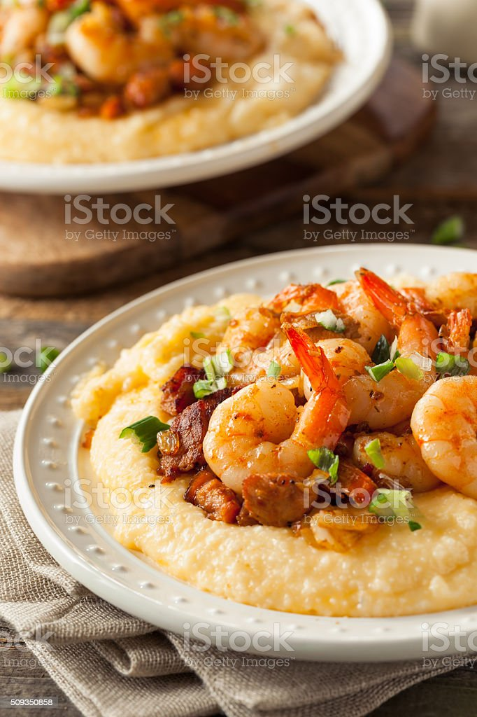 Homemade Shrimp and Grits stock photo