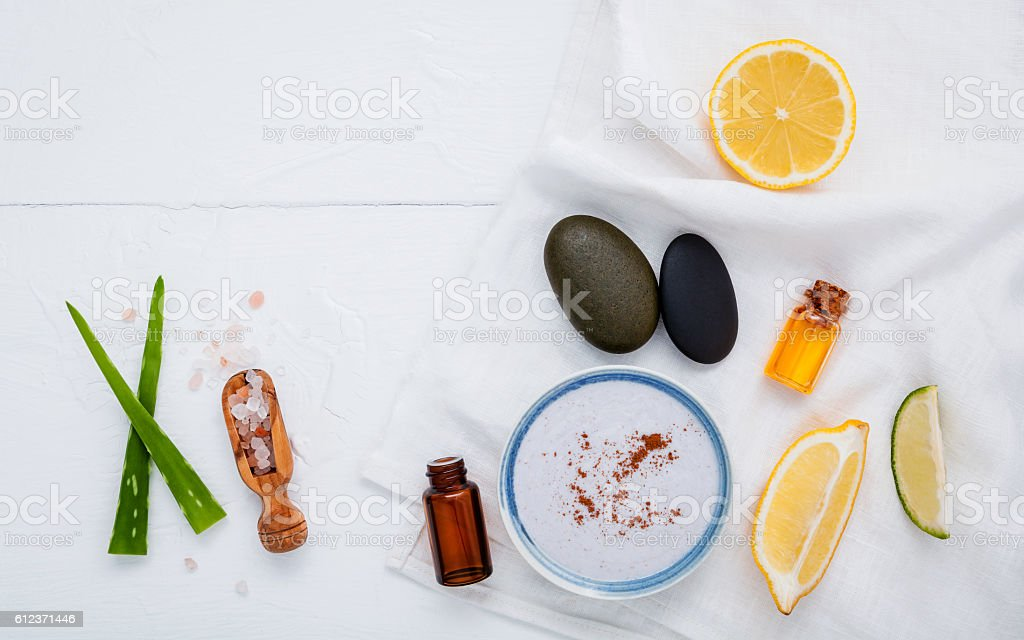 Homemade skin care and body scrub with natural ingredients lemon stock photo