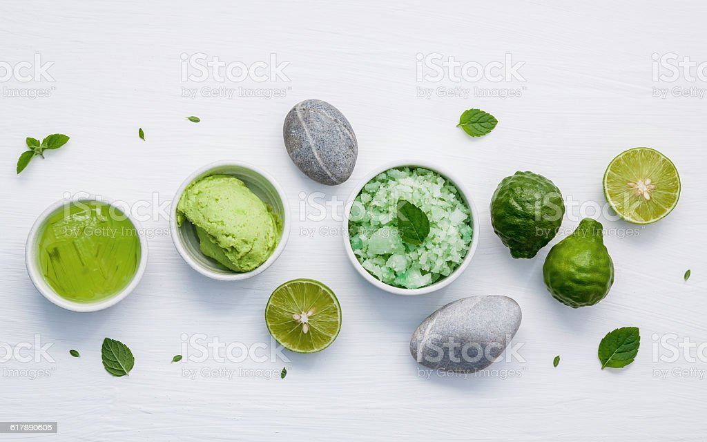 Homemade skin care and body scrubs with green natural ingredient stock photo