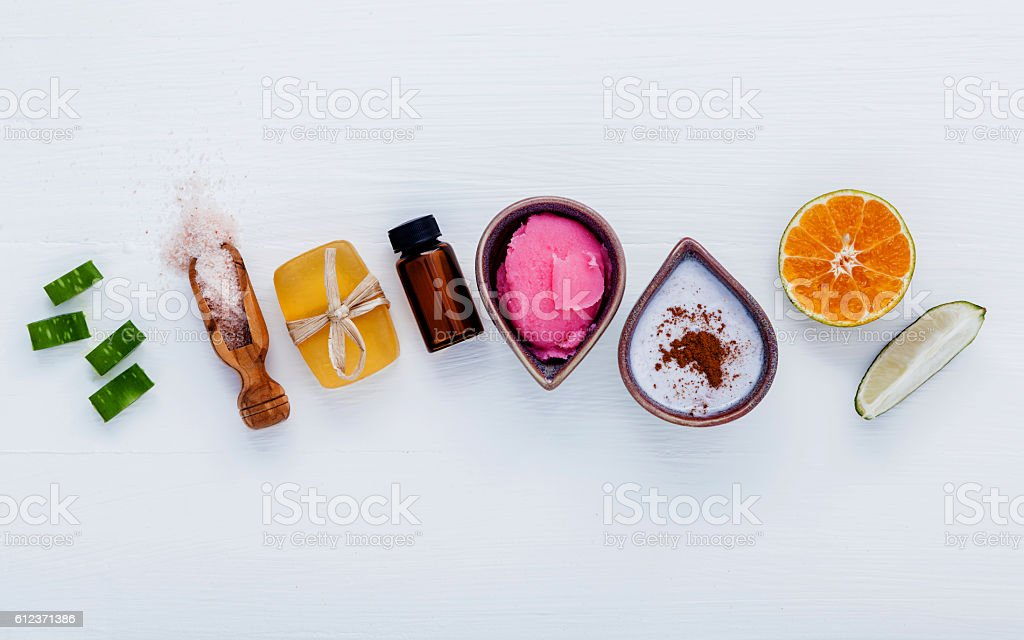 Homemade skin care and body scrubs with natural ingredients aloe stock photo