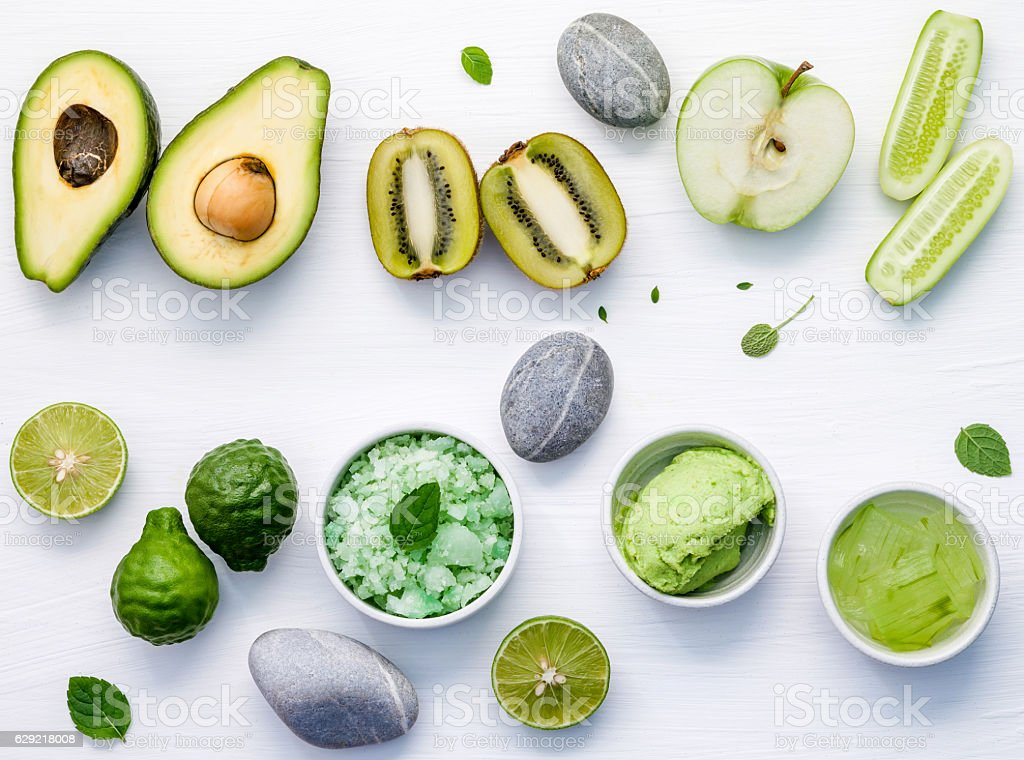 Homemade skincare and body scrubs with green natural ingredients stock photo