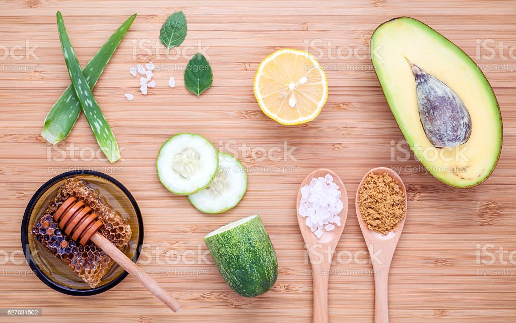 Homemade skincare and body scrubs with natural ingredients avoca stock photo