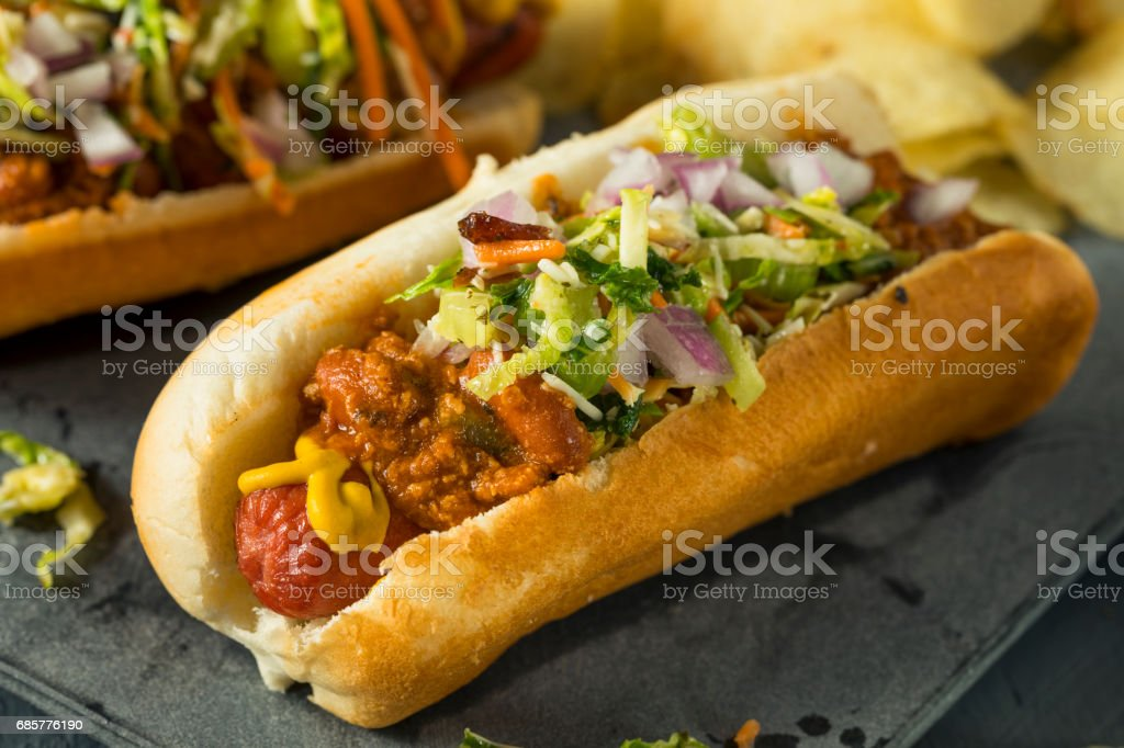 Homemade Slaw Hot Dog royalty-free stock photo