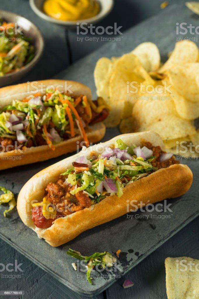 Homemade Slaw Hot Dog royalty-free stock photo
