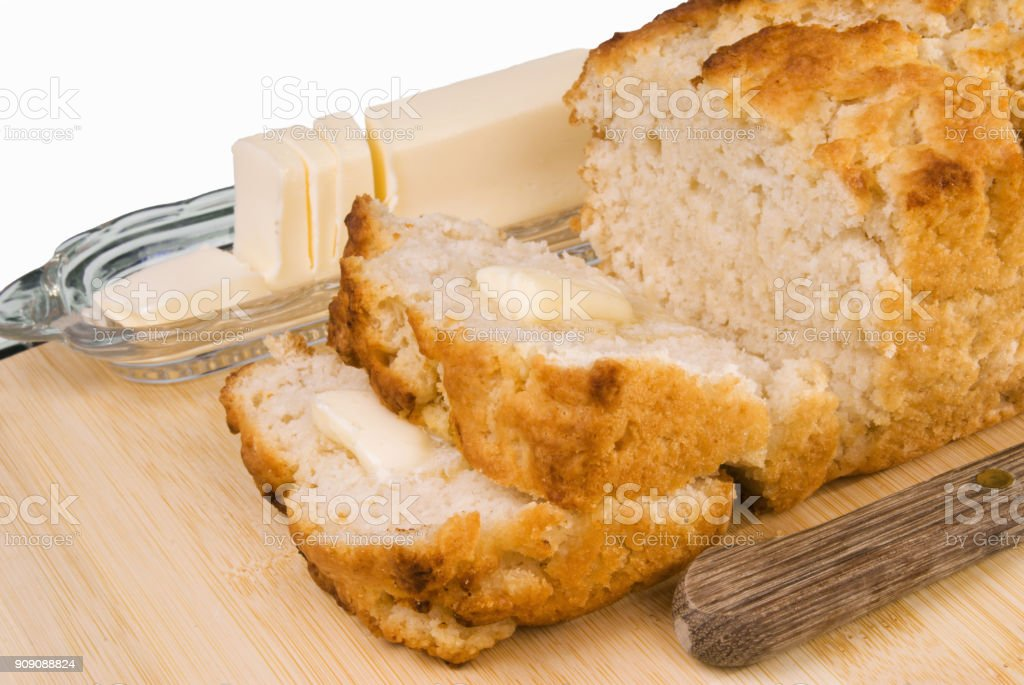 Homemade Sliced Beer Bread with Butter royalty-free stock photo