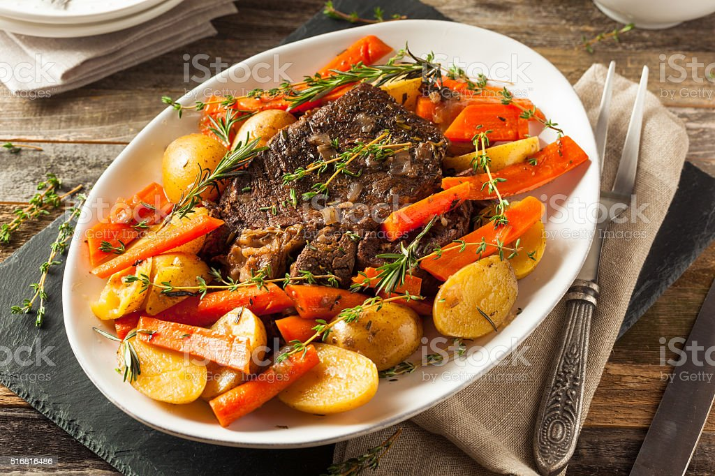 Homemade Slow Cooker Pot Roast stock photo
