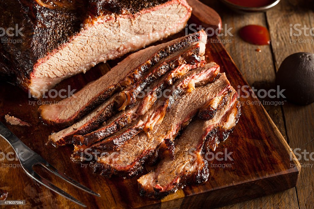 Homemade Smoked Barbecue Beef Brisket stock photo
