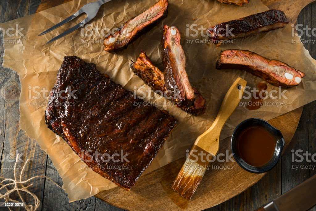 Homemade Smoked Barbecue St. Louis Style Pork Ribs stock photo