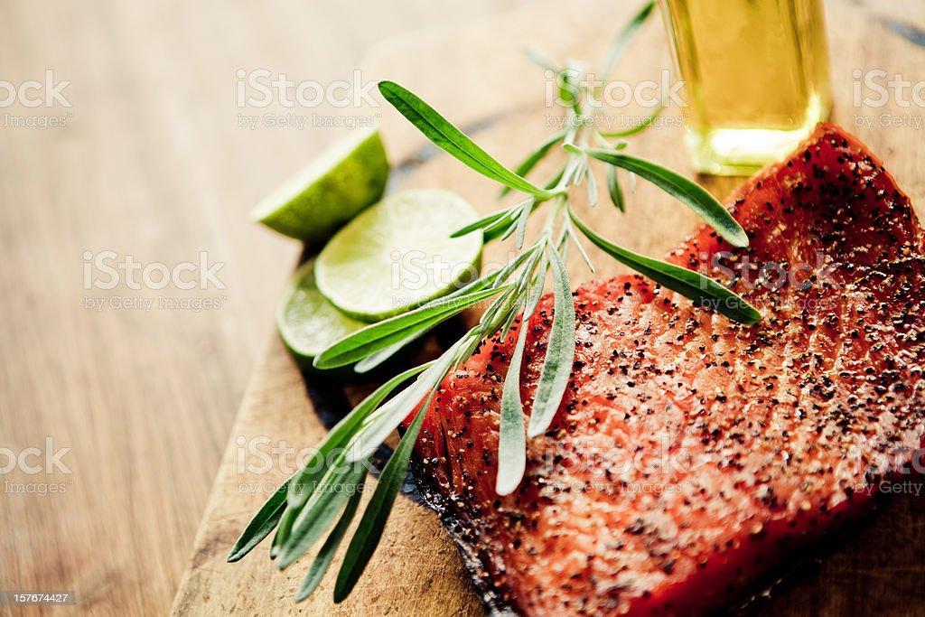Homemade smoked salmon stock photo