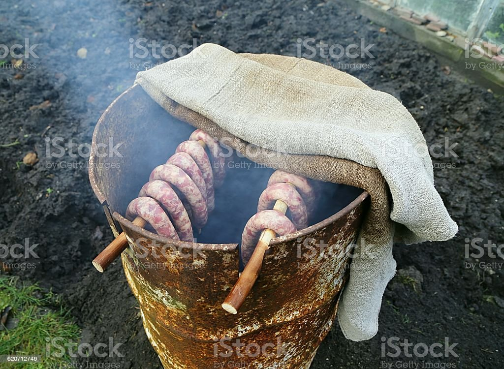 homemade smokehouse stock photo