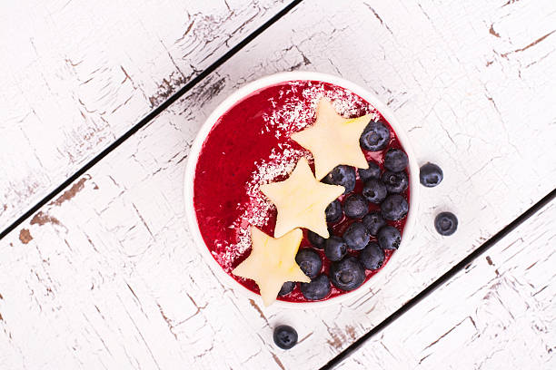 Homemade smoothie with apple and blueberry stock photo