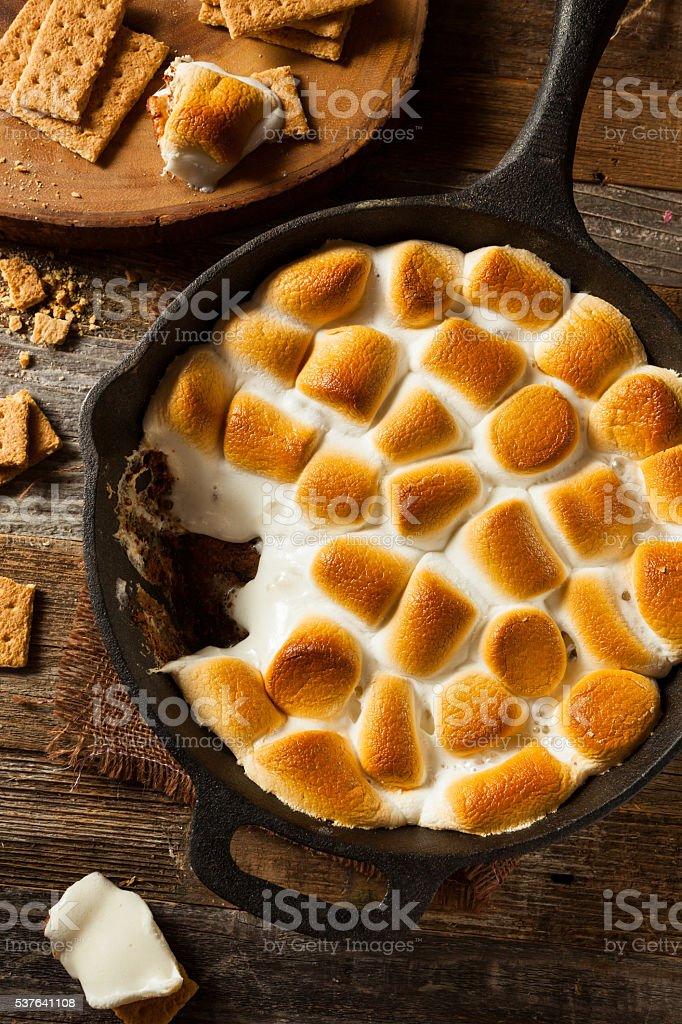 Homemade S'mores Dip with Graham Crackers stock photo