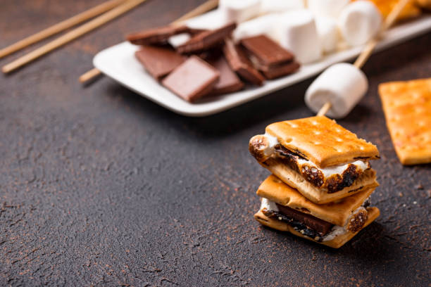 Homemade s'mores with crackers, marshmallows and chocolate – zdjęcie
