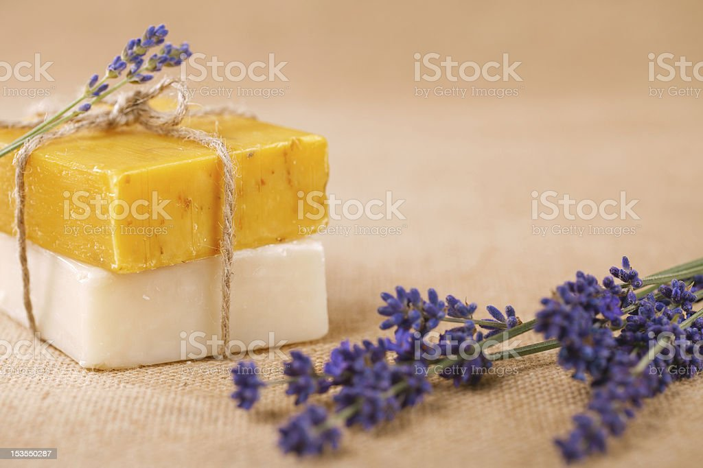 homemade soap bars with lavender flowers royalty-free stock photo