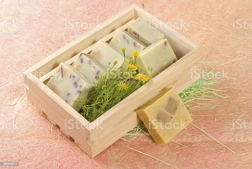 homemade soap put in wooden box royalty-free stock photo