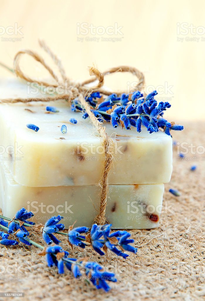 Home-made soap still-life with lavender royalty-free stock photo