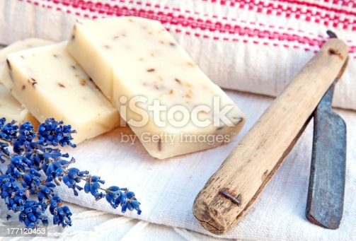 626488630 istock photo Home-made soap with lavender in retro style 177120453