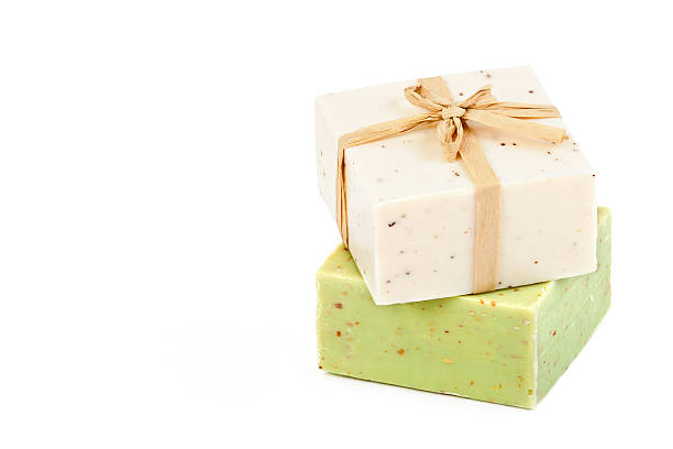 homemade soap with natural ingredients stock photo