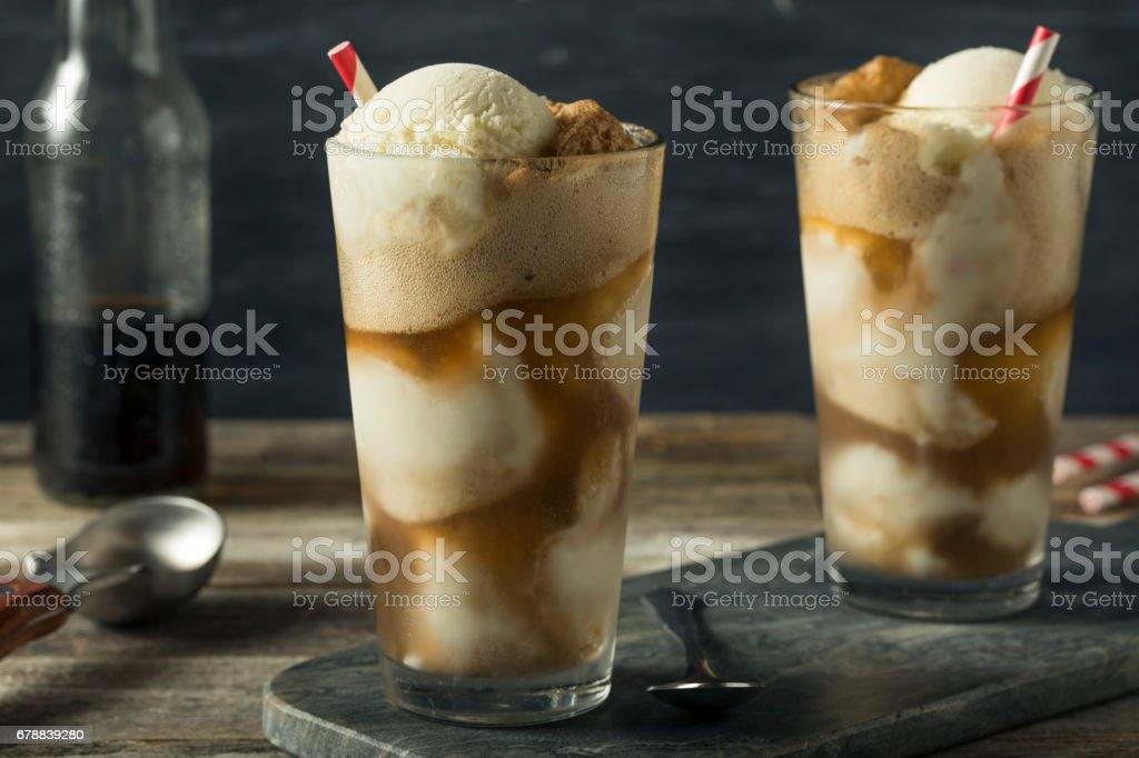 Homemade Soda Black Cow Ice Cream Float stock photo