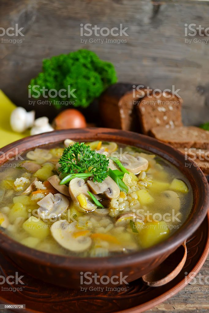 Homemade soup with mushrooms on a wooden background royalty-free stock photo