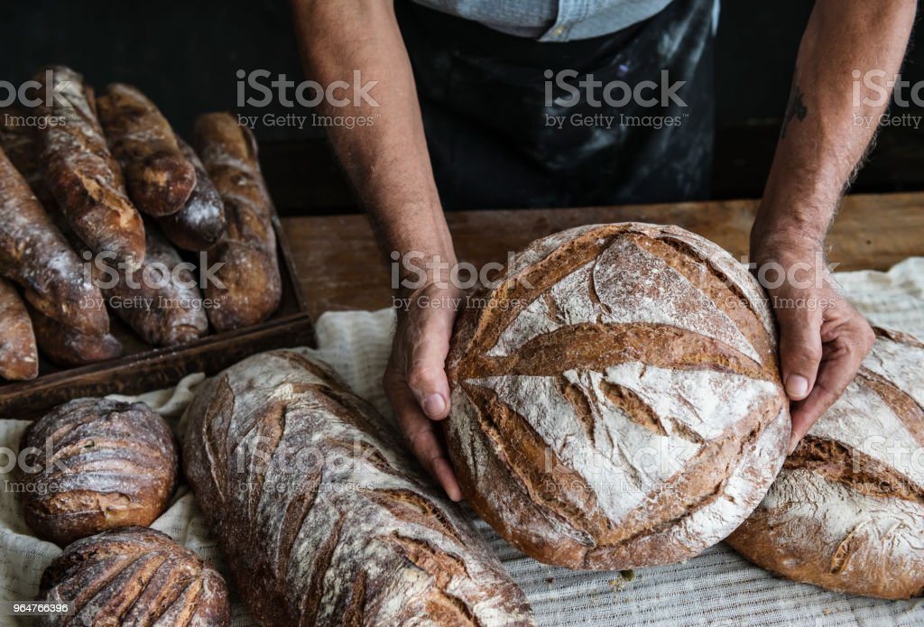 Homemade sourdough bread food photography recipe idea royalty-free stock photo