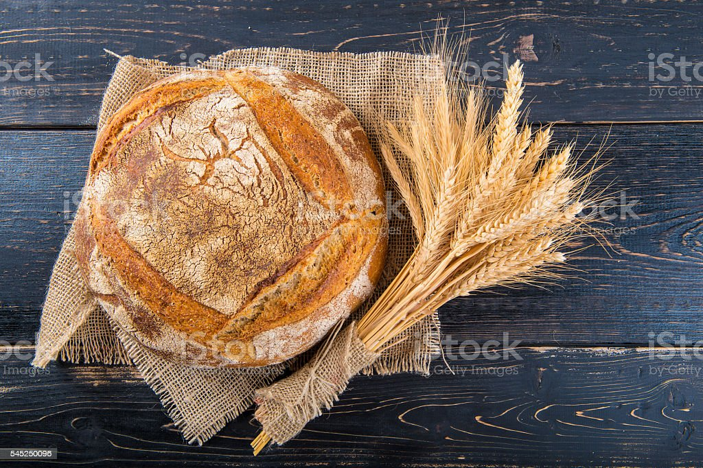 Homemade sourdouhg bread loaf stock photo