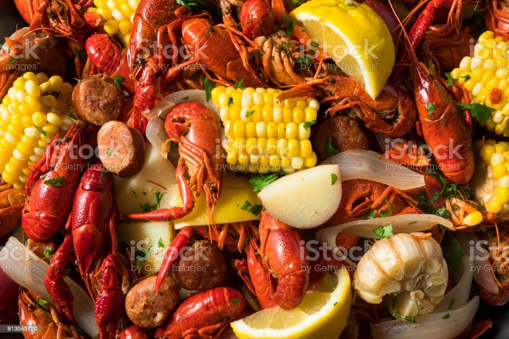 Homemade Southern Crawfish Boil stock photo