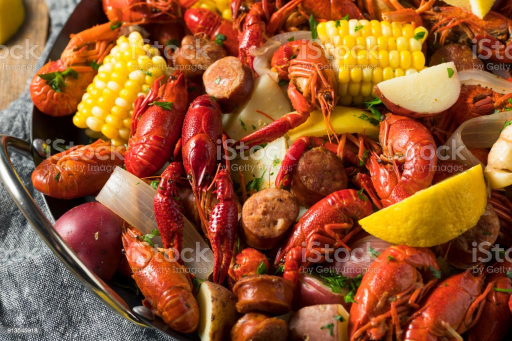 Homemade Southern Crawfish Boil stock photo