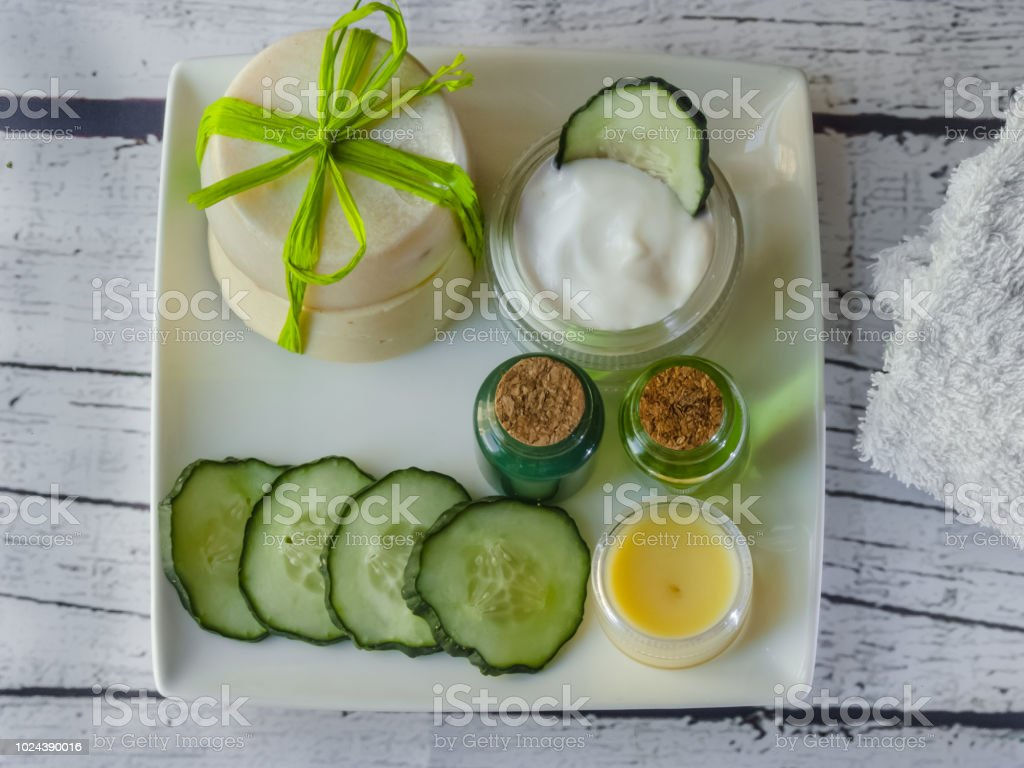 Homemade spa with organic natural ingredients stock photo