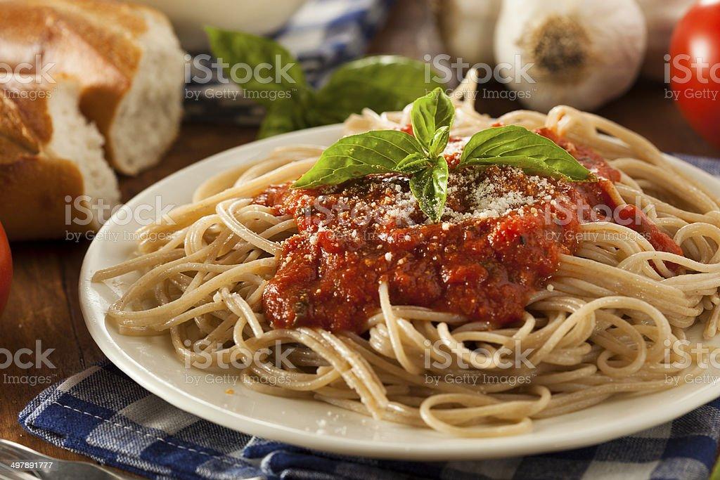 Homemade Spaghetti with Marinara Sauce stock photo