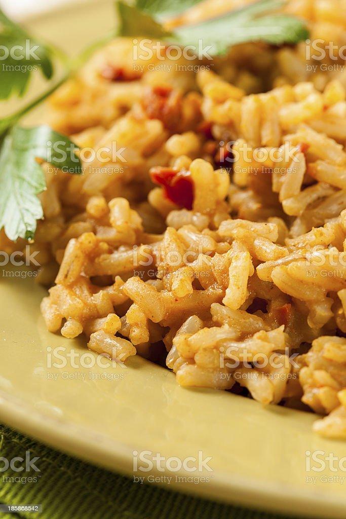 Homemade Spanish Rice with Parsley stock photo