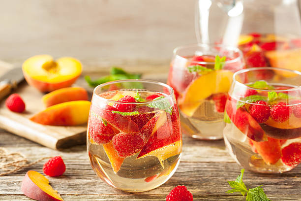 Homemade Sparkling White Wine Sangria stock photo