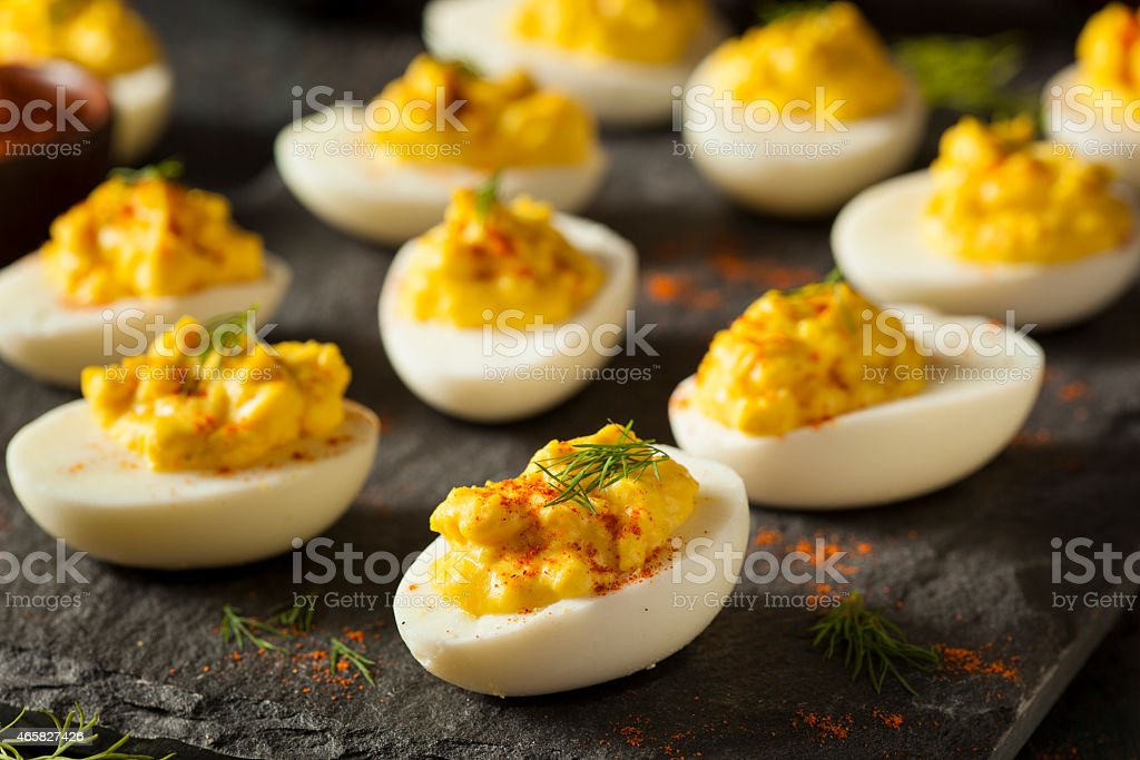 Homemade Spicy Deviled Eggs stock photo